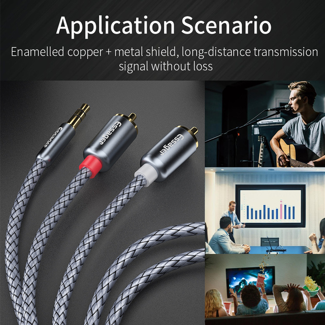 Essager RCA Audio Cable Jack 3.5 to 2 RCA Cable 3.5mm Jack to 2RCA Male Splitter Aux Cable for TV PC Amplifiers DVD Speaker Wire 2