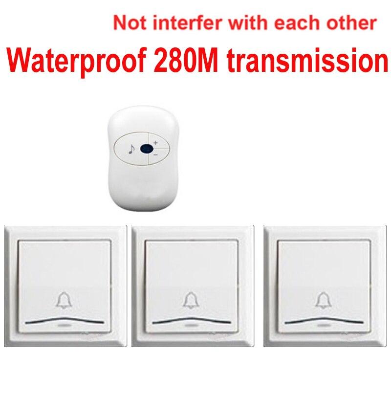 ФОТО 3 emitters+1 receivers doorbell Waterproof 280m work wireless doorbell,wireless door chime,wireless bell, 36 melodies door bell