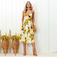 c7c5869f2e Ebizza Strap V Neck Dress Women Sunflower Print Button Backless Casual  Summer Boho Dress Vestidos High