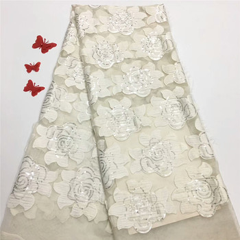 French Nigerian Laces Fabrics High Quality Tulle African Laces Fabric African French Tulle Lace for wedding dress sequin rf13-43