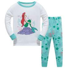 Пижамы для малышей со слоном; детская одежда с русалочкой; Хлопковая пижама для девочек; одежда для сна для дома; ночной костюм для детей с сердцем