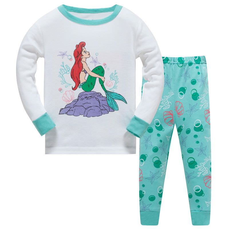 Elephant Toddler Pajamas Mermaid Kid Clothes Cotton Pyjama For Girls Sleepwear Nightwear For Home Night Suit For Kids Heart