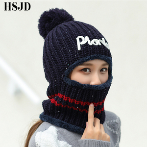 Image 5 - Chapéus de inverno balaclava malha gorro pescoço mais quente chapéus femininos moda feminina lantejoulas multi funcional skullies gorros bonés