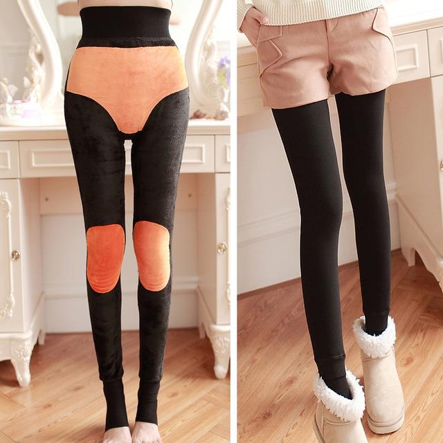 Muchacha de las mujeres de Terciopelo Grueso Medias Engrosamiento y lana de Invierno cálido Medias Señoras Atractivas del Vestido de la Tobillo-Longitud Pantalones Patas Apretadas