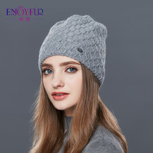 144c2d6afd7 ENJOYFUR Cashmere Knitted Women s Hats Diamond Lattice Winter Hat Female  Thick Cashmere Gravity Falls Cap Youth Wool Beanies