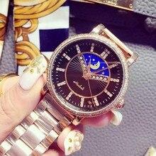 Luxury Brand Дамы Круглый Rhinestone Циферблат Кварцевые Часы Водонепроницаемые Наручные Часы Из Нержавеющей Стали Смотреть Женщины Одеваются часы OP001