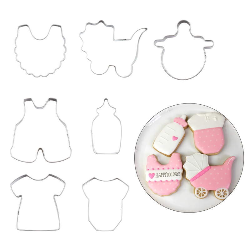 Happy Birthday Baby Cookie Mold Set Stainless Steel Cloth Bib Feeding Bottles Biscuit Cutter Home Diy Cookie Decorating Mould