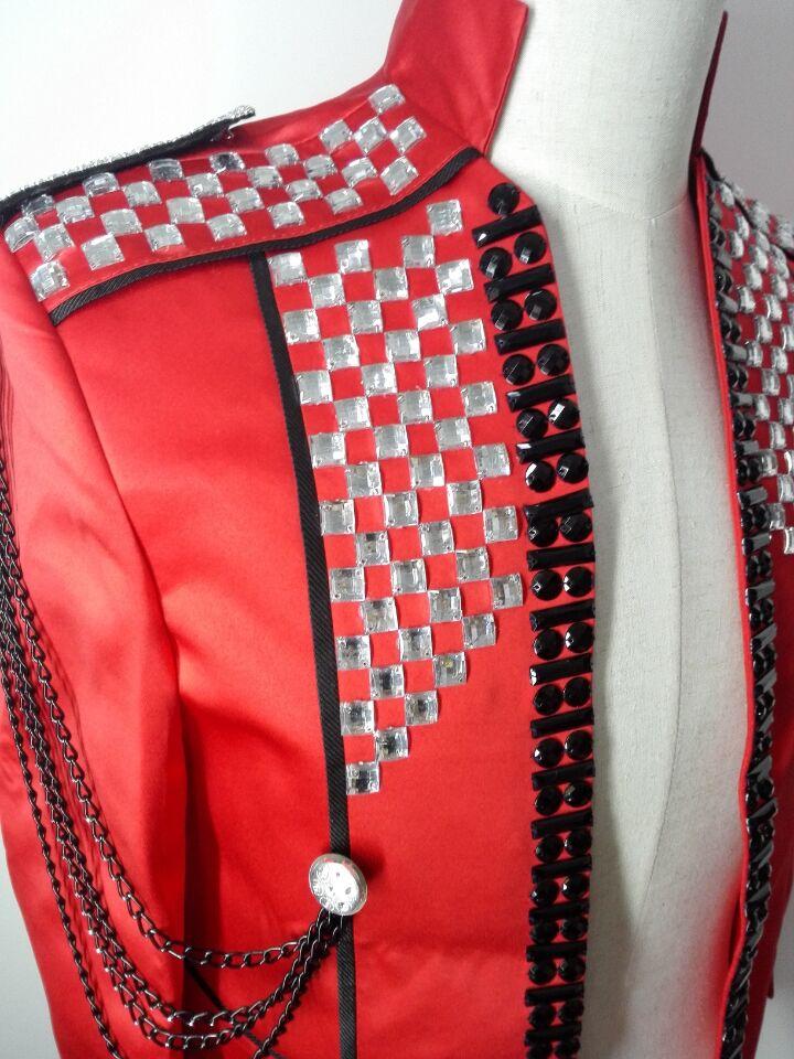 rote dünne männliche Kostümjackeblazer-Manteldiamantsteinstufe - Herrenbekleidung - Foto 5