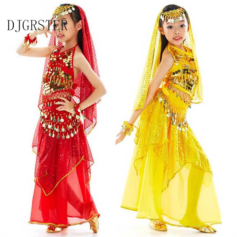 2018 kids belly dance 6pcs(top+pant+belt+head chain+hand chain+veil) indian clothes rose/red/yellow girls belly dance costume