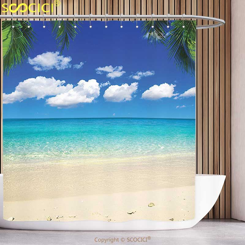 Waterproof Shower Curtain Beach Island View Decor Tropical Vacation and Bright Sky Scenic Shore Picture Print Accessories Blue
