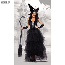 SESERIA Halloween Purim Carnival Black Gothic Witch Costume Costumes for Women Adult Long Dress Cosplay Clothing