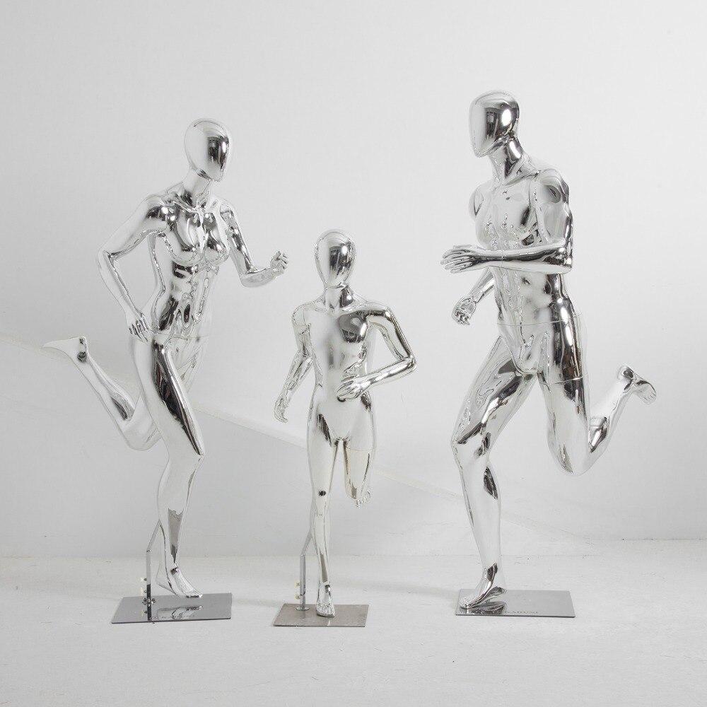 Спортивная одежда модель магазина все тело мышцы ногами, бег, посеребренные окно для манекенов дисплей