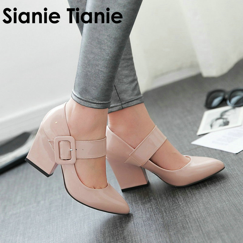 Sianie Tianie 2019 spring autumn red white apricot patent PU big buckle mary janes ladies shoes thick high heels pumps for women