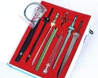 Anime Sword Art Online SAO Cosplay Swords Kirito Elucidator Asuna Swords Weapons Pendants Cosplay Accessory Set+Box