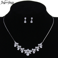 Gorgeous Leaves Crystal Bridal Jewelry Sets Silver Color Water Drop Earrings Necklace Wedding Accessories Parure Bijoux
