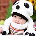 Do Inverno do bebê Chapéu e Lenço Set Animal Bonito Panda Bebê menino chapéus Bonés de Crochê Meninas Crianças Chapéus de Inverno Chapéu De Lã Branco Para crianças