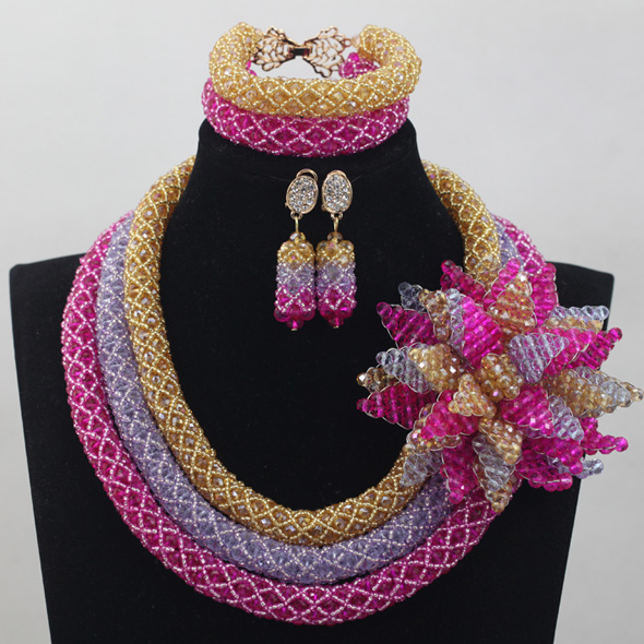 Nigerian wedding african jewelry sets gold pink lilac big crystal nigerian wedding african jewelry sets gold pink lilac big crystal flower brooch pendant necklace set free shipping wd758 mozeypictures Gallery