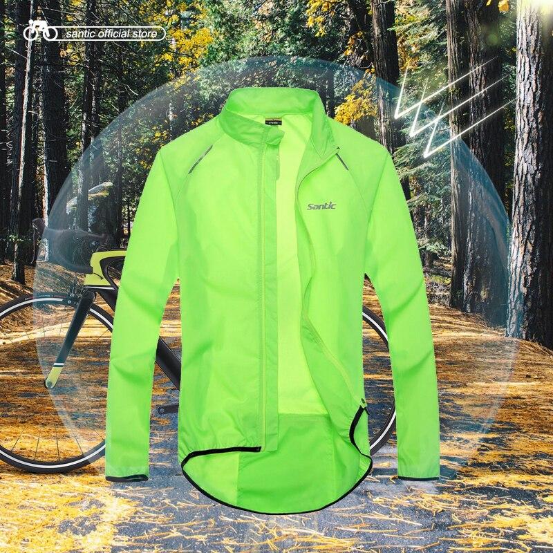 Santic Men Cycling Windproof Jackets Sun-protective Anti-splashing Water UPF30+ Cycling Clothings Skin Coat Green C07015V/C6101