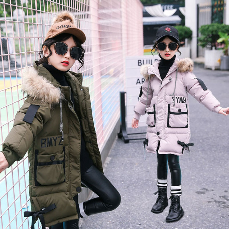 Long Version Cotton Jacket for Winter Girls Warm Outerwear Sport Children's Clothing Teenager Girls Coats 2017 Kids Clothing New short section cotton coats winter bread clothing thickening keep warm jacket 2017new women fashion outerwear abrigos mujerlh097