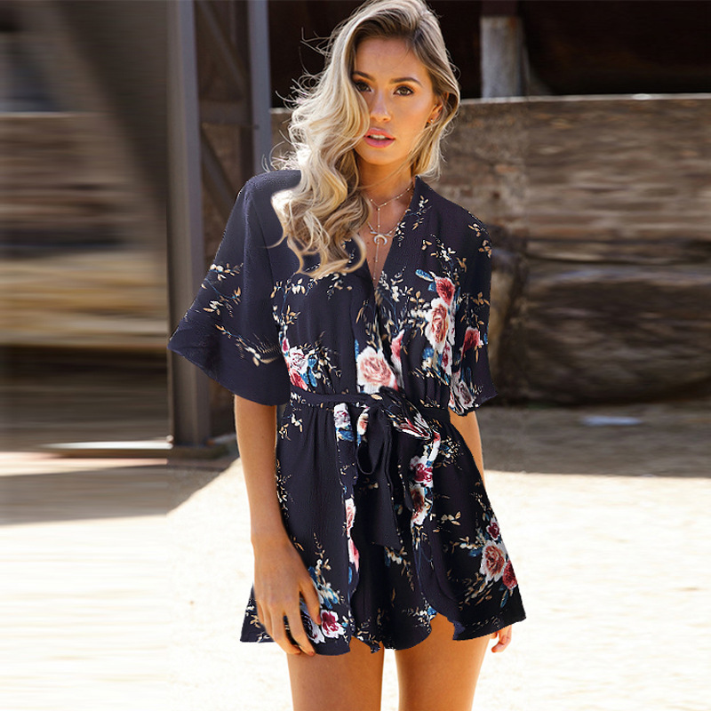 100% QualitäT Marke Bodysuit Insgesamt Frauen Tops Drucken Casual Combinaison Femme Jumpsuit Playsuit Körper Feminino Boho Kleidung Sommer Strampler