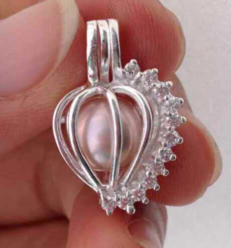 925 Silver Heart-Shaped Pearl Bead Cage Locket, Sterling Silver With Shiny Gems Zircons Pendant Fitting DIY Jewelry Charm