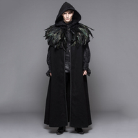 Devil Fashion Punk Men Long Cloak Coats Gothic Velvet Hooded Overcoats with Detachable Feathers Shawl Halloween Loose Capes