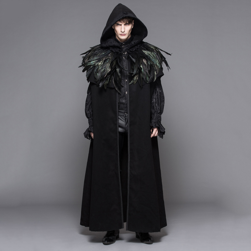 Devil Fashion Steampunk Men Long Cloak Coats Gothic Velvet Hooded Overcoats with Detachable Feathers Shawl Halloween Loose Capes