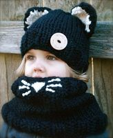 Children Of 3 5 Years Girl Chunky Hooded Scarf Children Black Cat Cowl Hoodie Cowl Kids