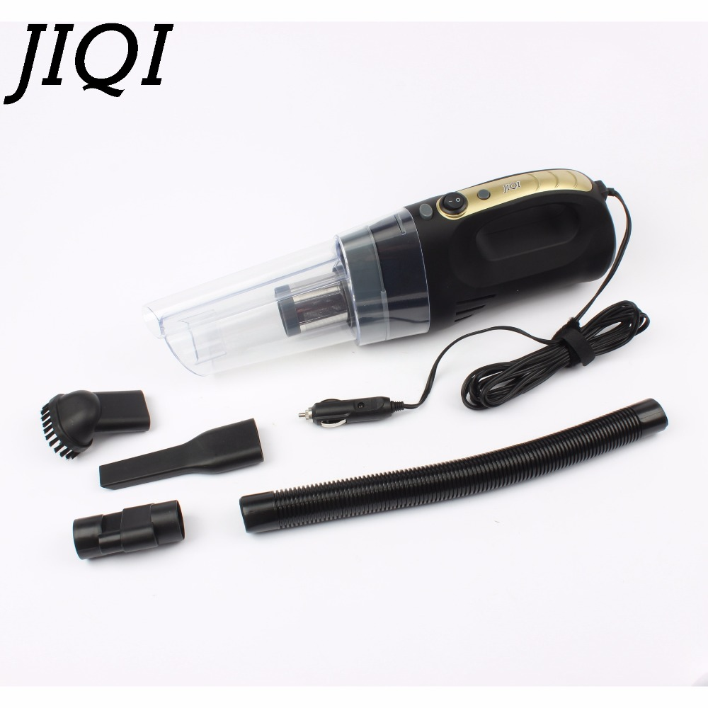 JIQI Auto Wet Dry Dual Use Car Vacuum Cleaner sweeper Multifunction Portable Handheld Mini Dust Collector LED Aspirator 12V 120W jiqi mini vacuum cleaner sweeper household powerful carpet bed mites catcher cyclone dust collector aspirator duster eu us plug