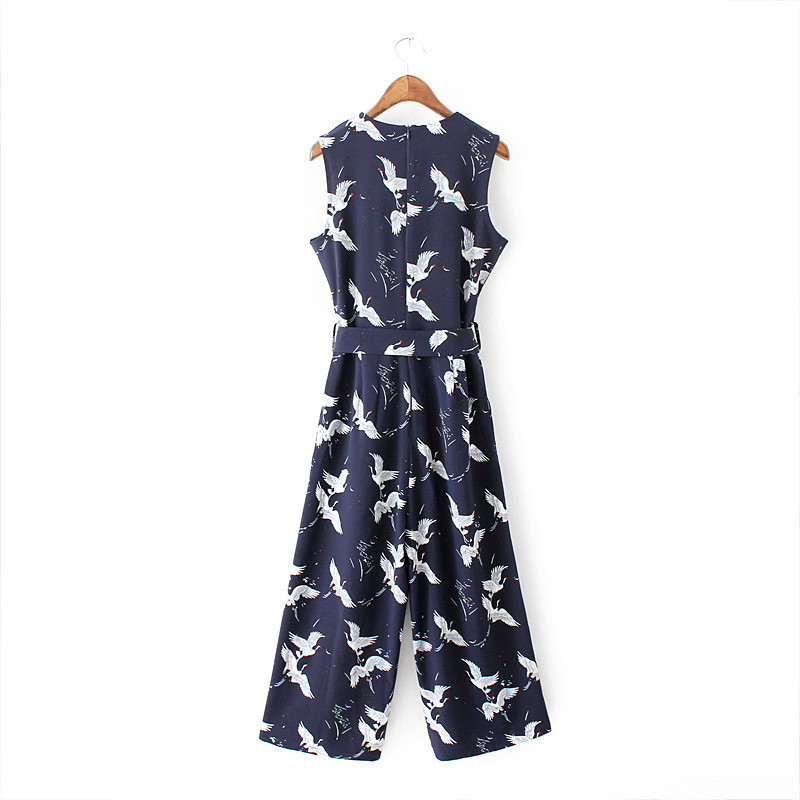 Clearance Sale¤Casual Jumpsuits Rompers Sashes Pleated Vintage Women Ladies Sleeveless Cute Crane Pockets
