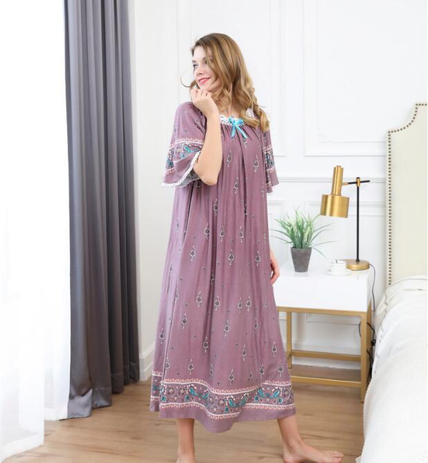 Women Long Loose Casual Bourette Sleepwear Soft Night Dress Pajamas Women's Night Gowns Robes RB285