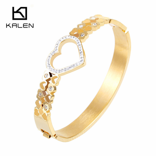 Kalen Love Bracelet With Rhinestone Bracelet For Women Wristband Gold Plated/Silver/Rose Gold Plated Cuff Bangles New Arrival