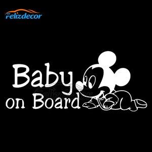 23*10 см Микки Маус ребенок на борту Цитата девиз знак автомобиля бампер автомобиля стикер Забавный Humour ноутбук семья окна автомобиля Декор L808