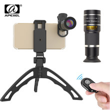 Apexel mobile phone camera lens 20X Zoom Telescope monocular lenses with tripod&Bluetooth For iPhone7 Samsung for sports concert(China)