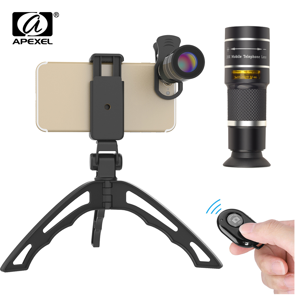 Apexel mobile téléphone camera lens 20X Zoom Télescope monoculaire lentilles avec trépied et Bluetooth Pour iPhone7 Samsung pour sport concert