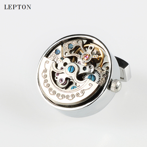Image 5 - Low key Luxury Functional Watch Movement Cufflinks Lepton Stainless Steel Steampunk Gear Watch Mechanism Cufflinks for Mens