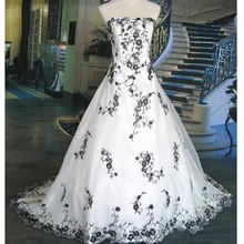 New US2-26W++ White and Black Bridal Gown Embroidery Real Image 2017 Vintage A Line Wedding Dress Strapless Custom Size Charming
