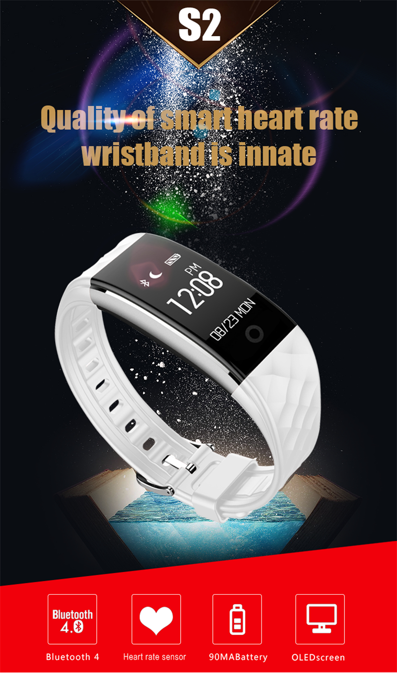 Waterproof Bluetooth Smart Band S2 Smart Wristband Bracelet Heart Rate Pedometer Sleep Fitness Tracker for Android IOS Phones 3