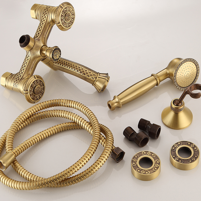 Bathtub Faucets Antique Brass Bath Rain Shower Faucet Head and Handheld Shower Faucet 2 Handel Bathroom