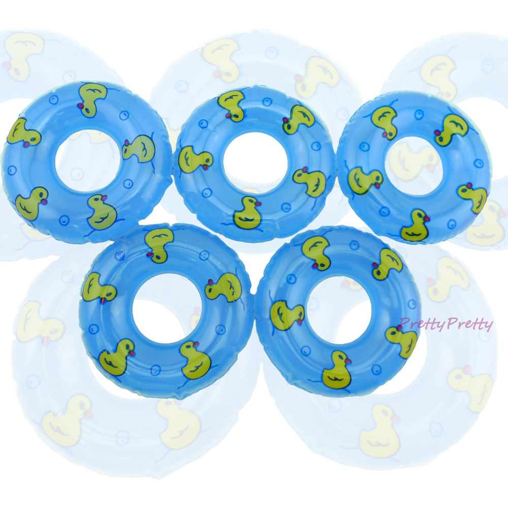 10 Pcs / Lot Mini Blue Beach Bathing Swimming Buoy Lifebelt Rings For Barbie Doll For Kurhn Accessories Baby Girl Toys Best Gift