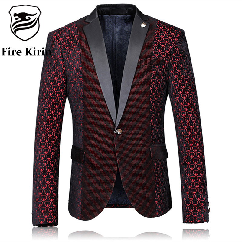 Fire Kirin Blazer Men 2017 Slim Fit Mens Burgundy Blazer