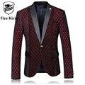 Kirin fuego Chaqueta de Los Hombres 2017 Slim Fit Mens Borgoña Blazer Trajes de la etapa Para Los Cantantes de La Manera Impreso Boda Blazers Para Los Hombres Q54