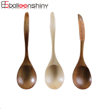 BalleenShiny Big Wooden Soup Spoons Dining Spoons Tableware Kitchen Accessories Rice Spoon Table Environmentally Friendly Gifts