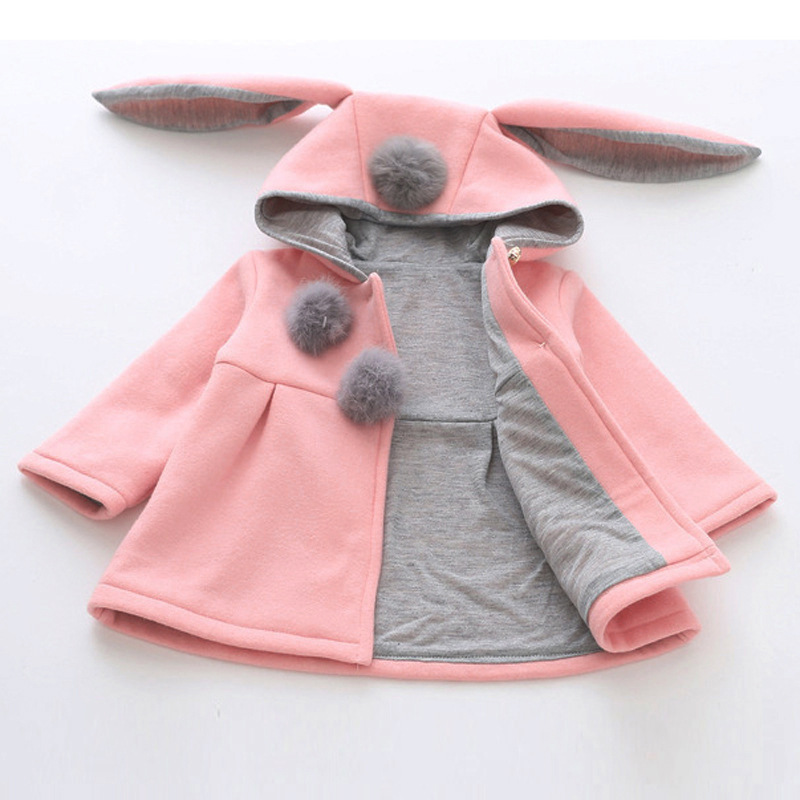 Spring Autumn Winter Warm Kids Jacket Outerwear Cute Rabbit Ear Hooded Baby Girls Coat Children Clothing Baby Tops Girl Coats