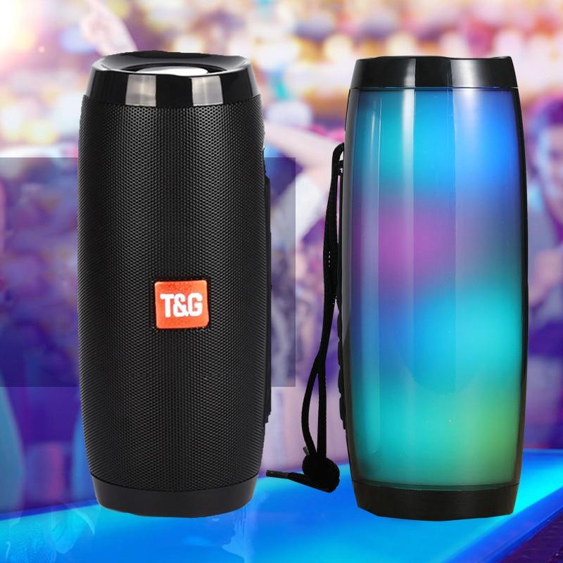 Portable Speakers Bluetooth Column Wireless Bluetooth Speaker Powerful High BoomBox Outdoor Bass HIFI TF FM Radio with LED Light(China)