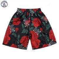 2017 Mr.1991INC Nieuwe Mode 3d shorts mannen mooie strand shorts 3d print groene bladeren en rode rozen sneldrogende mesh korte broek S7