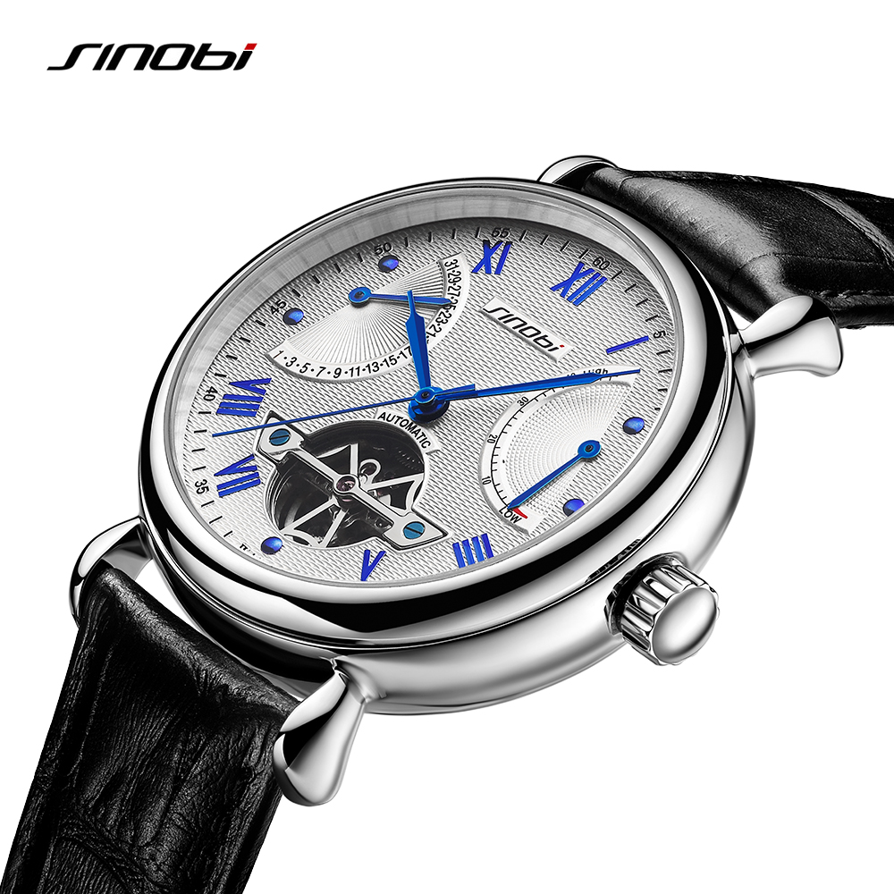 Image 1 - SINOBI Mens Automatic Mechanical Watch Tourbillon Males Skeleton Wrist Watches Quality Gift Box Wristwatches Relojes Mecanicos-in Mechanical Watches from Watches