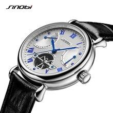 SINOBI رجل التلقائي ساعة ميكانيكية توربيون الذكور الهيكل العظمي ساعات المعصم جودة هدية صندوق ساعات المعصم Relojes Mecanicos