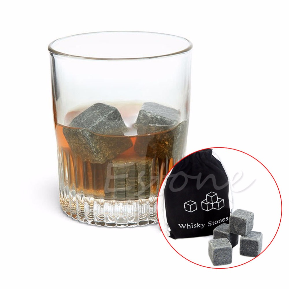 9pcs Whisky Ice Stones Drinks Cooler Cubes Scotch Rocks Granite & Pouch