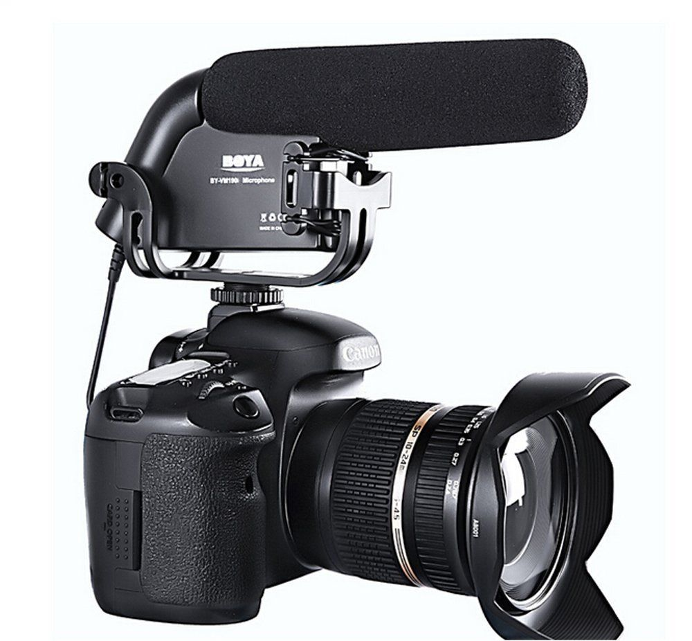BOYA BY-VM190 Stereo Shotgun Microphone w/ Windshield for Canon Nikon Pentax DSLR Camera boya by sm80 stereo video microphone with windshield for canon for nikon for sony dslr camera microphone camcorder